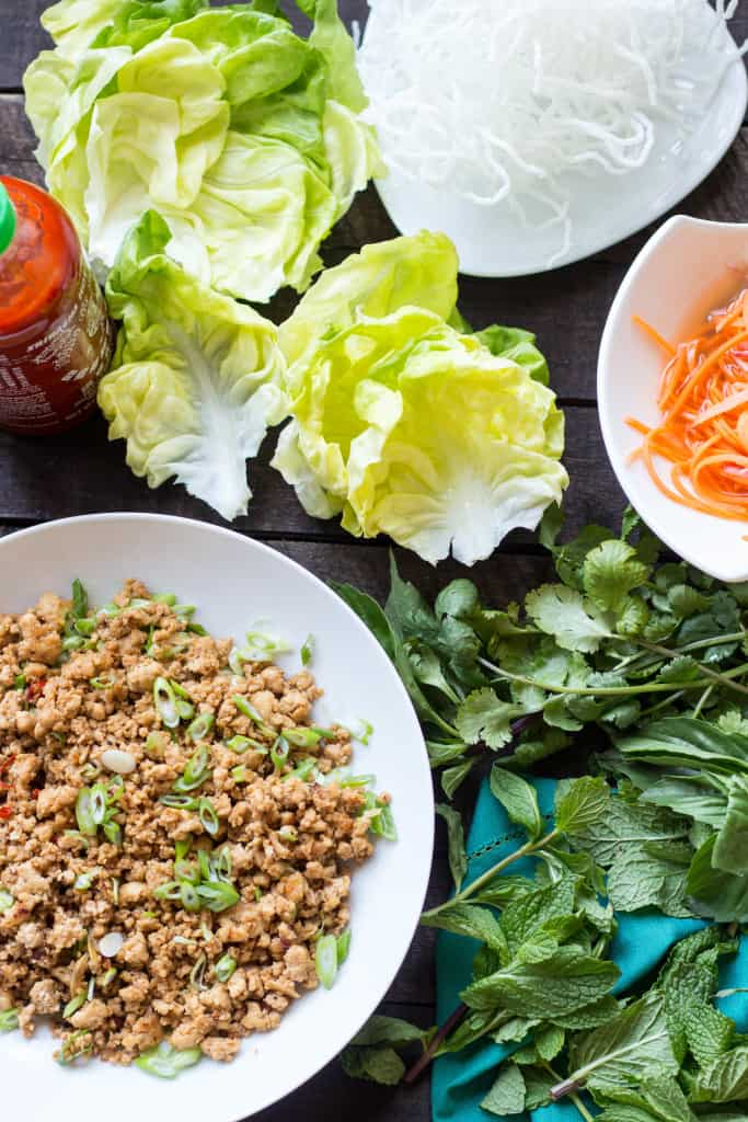 Chicken Lettuce Wraps with Quick Pickled Carrots + Puffed Rice Noodles