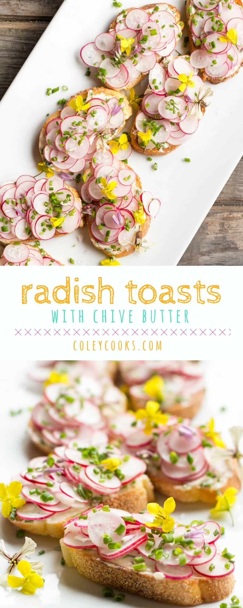 RADISH TOASTS with CHIVE BUTTER | Radishes and butter are a classic French combination. Fresh chives makes it taste even better. Easy spring appetizer recipe! | ColeyCooks.com