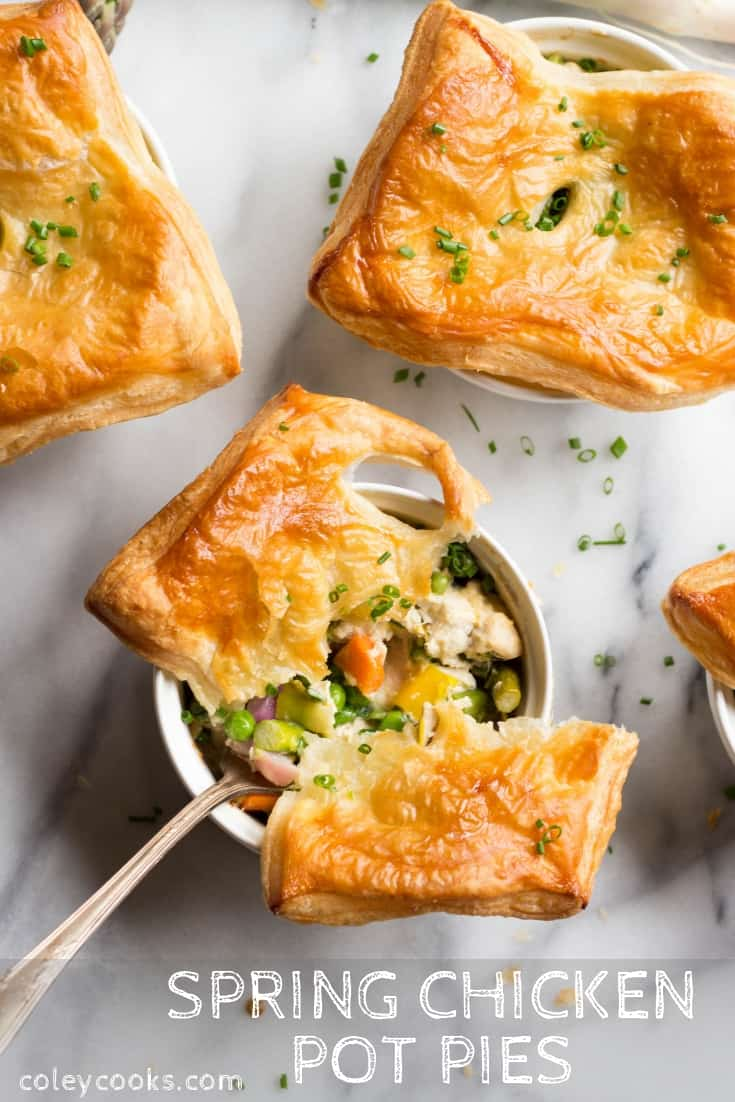 Spring Chicken Pot Pies | All of the Spring Veggies, Tender Chicken, and Crisp Puff Pastry. Easy spring recipe! #easy #spring #chicken #pot #pie #pastry #radishes #asparagus #peas #vegetables #recipe | ColeyCooks.com