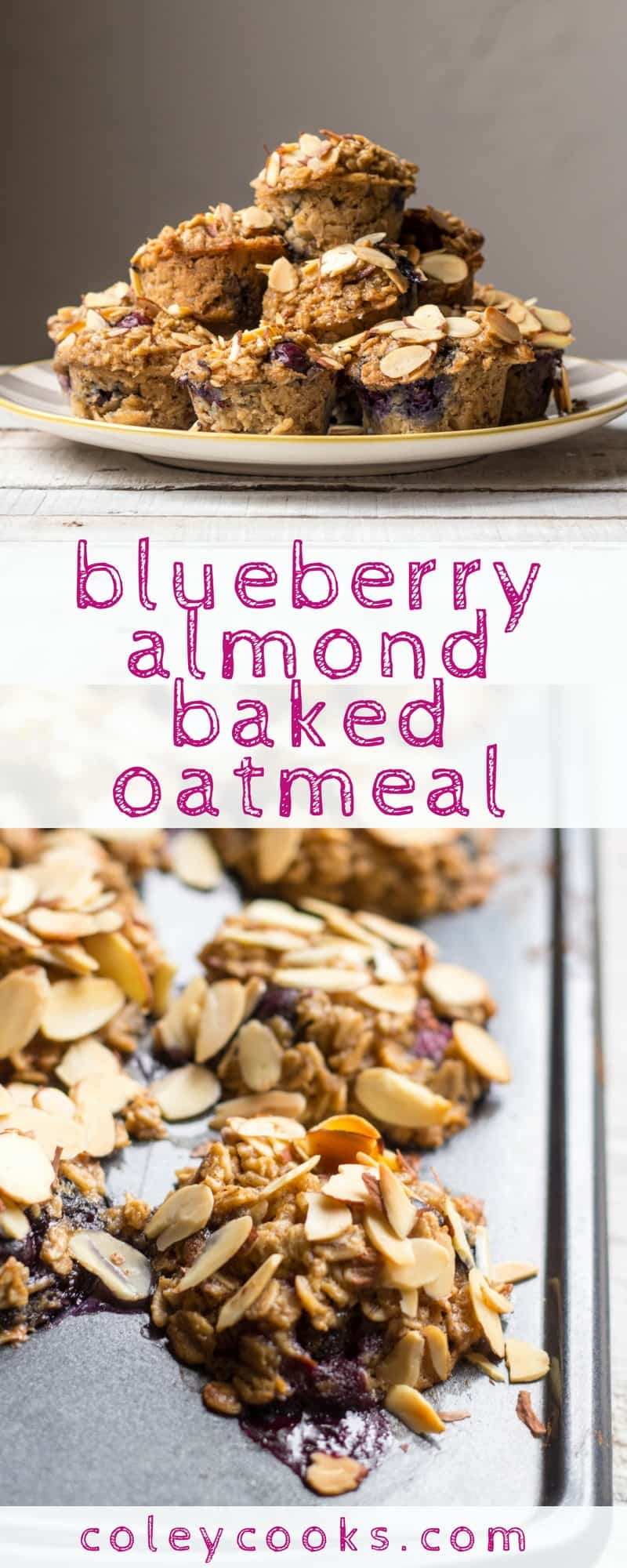 BLUEBERRY ALMOND BAKED OATMEAL | This baked oatmeal recipe is an easy and nutritious breakfast to take on the go! These little baked oatmeal bites are gluten free, dairy free, loaded with blueberries, and taste amazing! | ColeyCooks.com