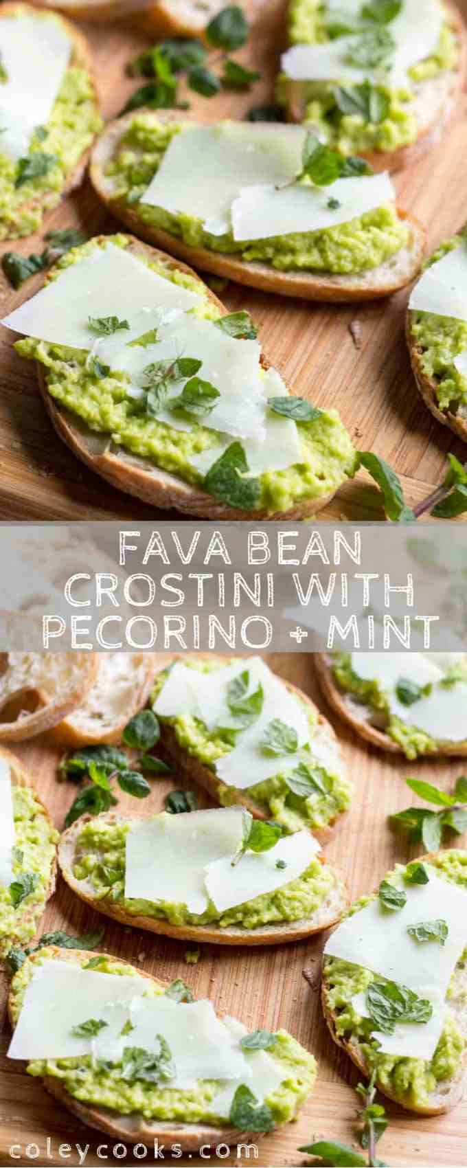 FAVA BEAN CROSTINI with Pecorino + Mint | Easy, delicious Spring appetizer perfect for Easter or Mother's Day! #easy #spring #appetizer #recipe #easter #fava #beans #pecorino #crostini | ColeyCooks.com