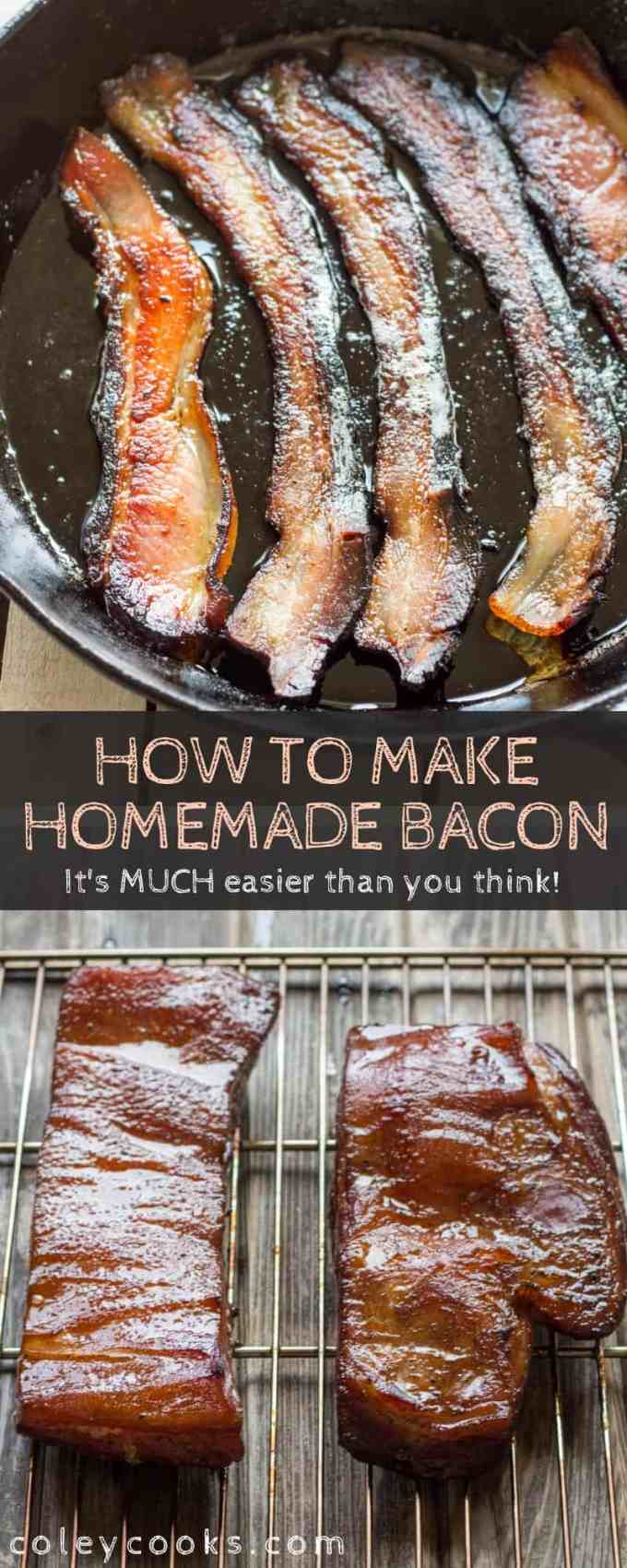 Learn to cure and smoke your own bacon at home with this simple tutorial.This recipe for homemade bacon is so much easier than you might think! #easy #homemade #bacon #smoked #pork #recipe | ColeyCooks.com