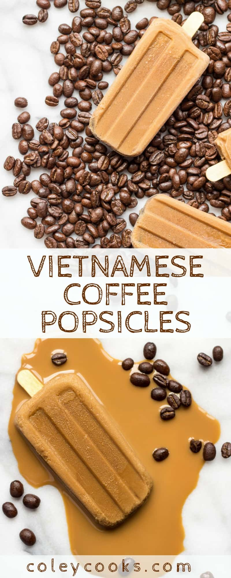 VIETNAMESE COFFEE POPSICLES | This easy recipe for Vietnamese Coffee Popsicles is made with super strong Vietnamese chicory coffee! Awesome frozen treat on a hot summer day. | ColeyCooks.com.jpg