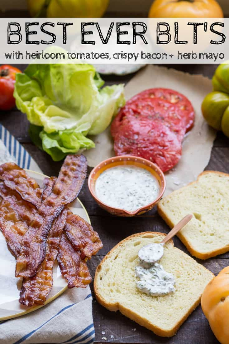 BEST EVER BLT'S with Crispy Bacon, Heirloom Tomatoes + Herb Mayo | Seriously good BLT sandwiches! The best BLT recipe ever! #sandwich #tomatoes #recipe #garden #summer #bacon | ColeyCooks.com