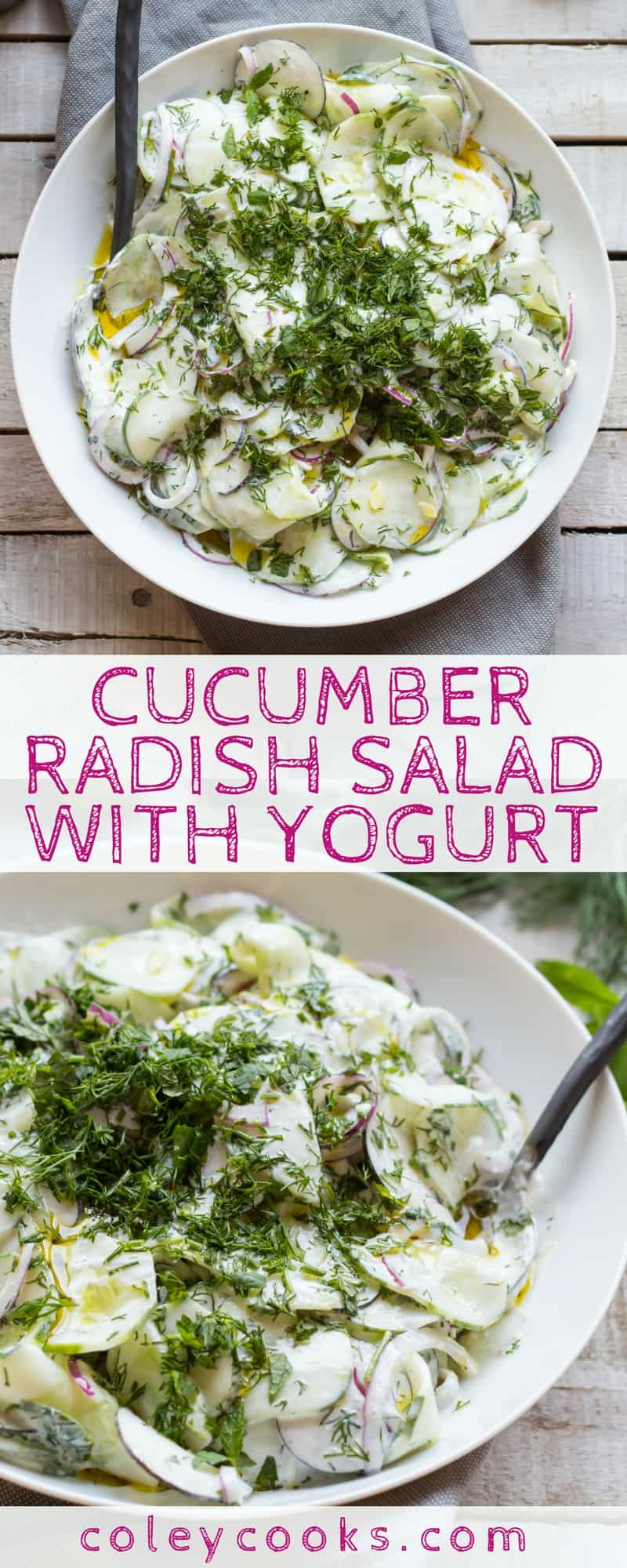 CUCUMBER RADISH SALAD with YOGURT | This summer salad is light, crisp, creamy, and so refreshing! It makes the best summer side to any grilled dinner! #glutenfree #vegetarian | ColeyCooks.com