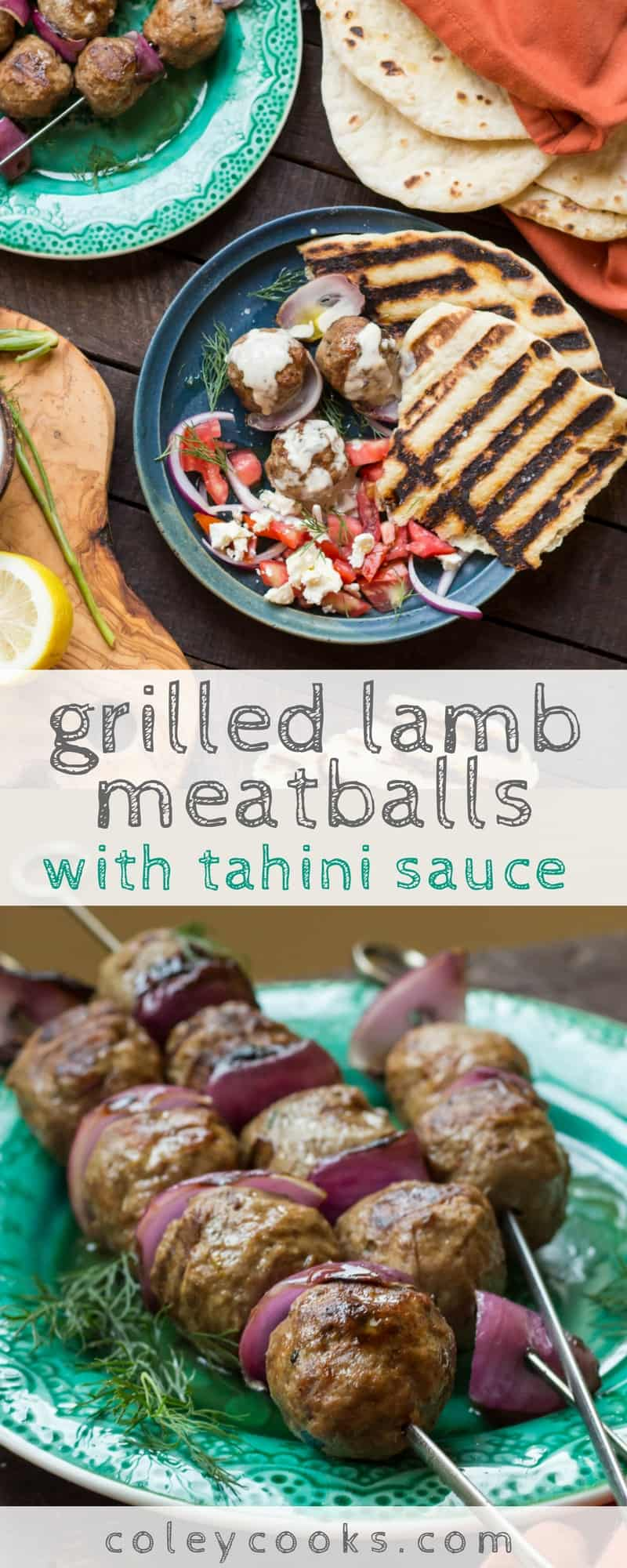 GRILLED LAMB MEATBALLS with TAHINI SAUCE | This simple recipe makes an easy and delicious weeknight dinner! They're full of flavor, gluten free and served with a lemony tahini sauce for dipping! #glutenfree| ColeyCooks.com