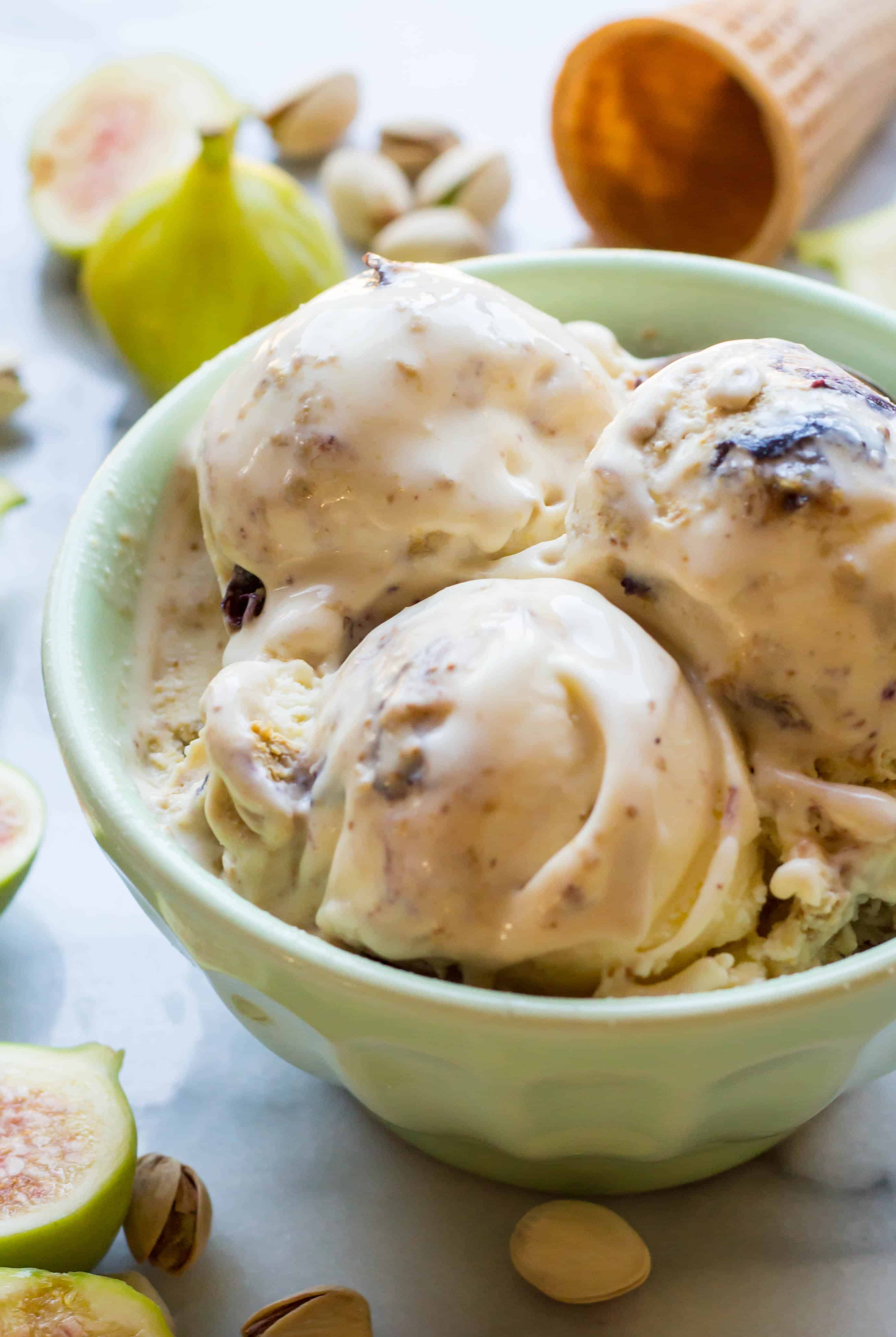 Ricotta Gelato with Pistachio and Fig