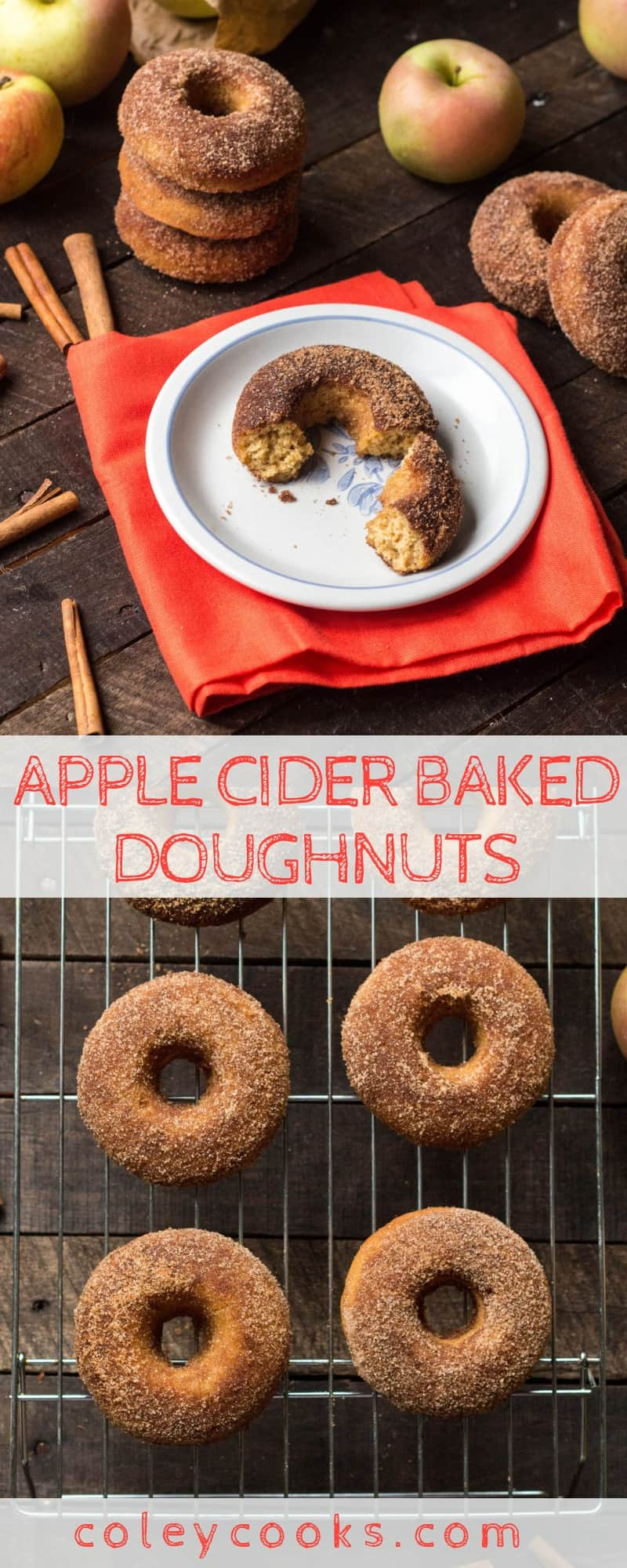 APPLE CIDER BAKED DOUGHNUTS | Healthier baked apple cider doughnuts! This healthy recipe is easy and delicious! #doughnuts #donuts #easy #apple #cider #recipe #brunch #breakfast | ColeyCooks.com