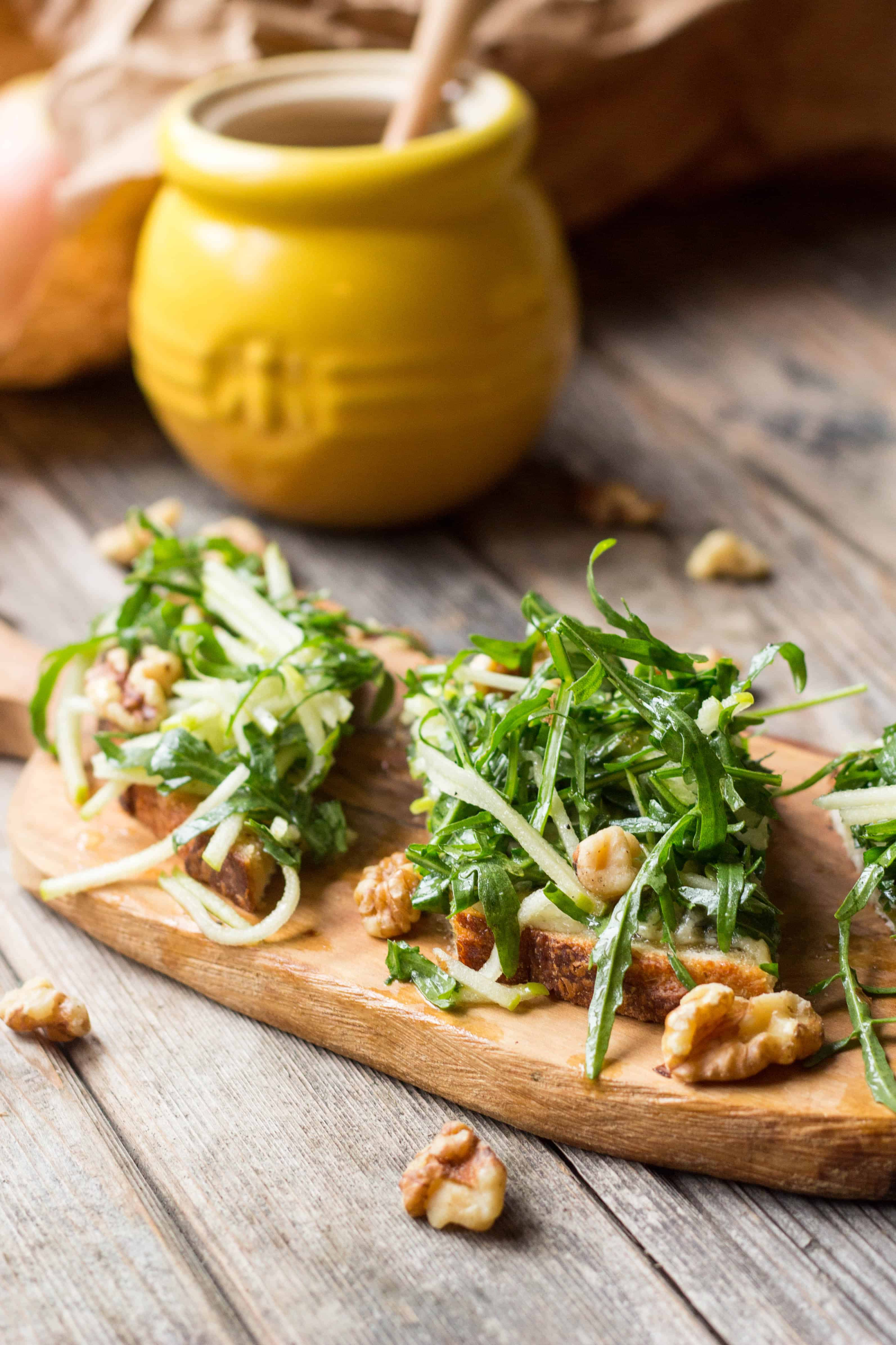 Blue Cheese Tartines with Apples + Arugula (Video!) | ColeyCooks.com