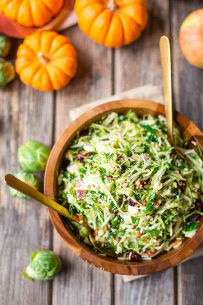 Brussels Sprout, Kale + Apple Salad {with Sharp Cheddar, Bacon + Pecans}
