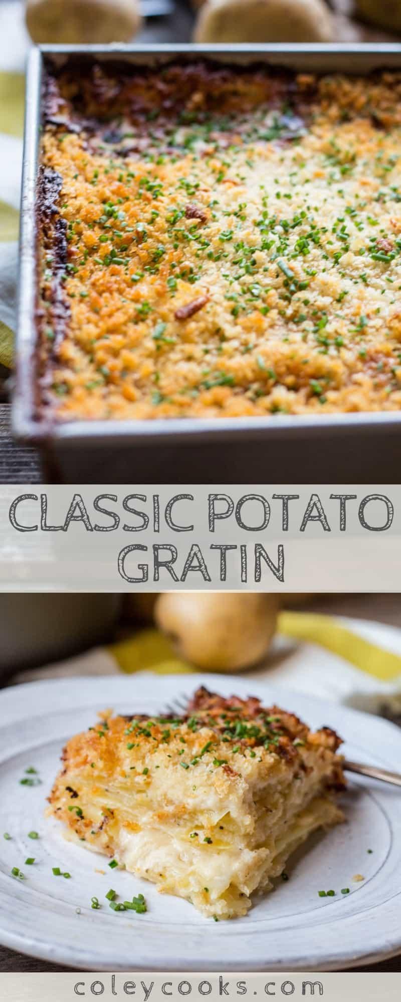 CLASSIC POTATO GRATIN | This classic recipe for potato gratin is a simple, show stopping potato side dish recipe! Rich, creamy, crunchy side dish perfection. #Thanksgiving #side #Christmas #potato #gratin #classic #recipe #easy | ColeyCooks.com