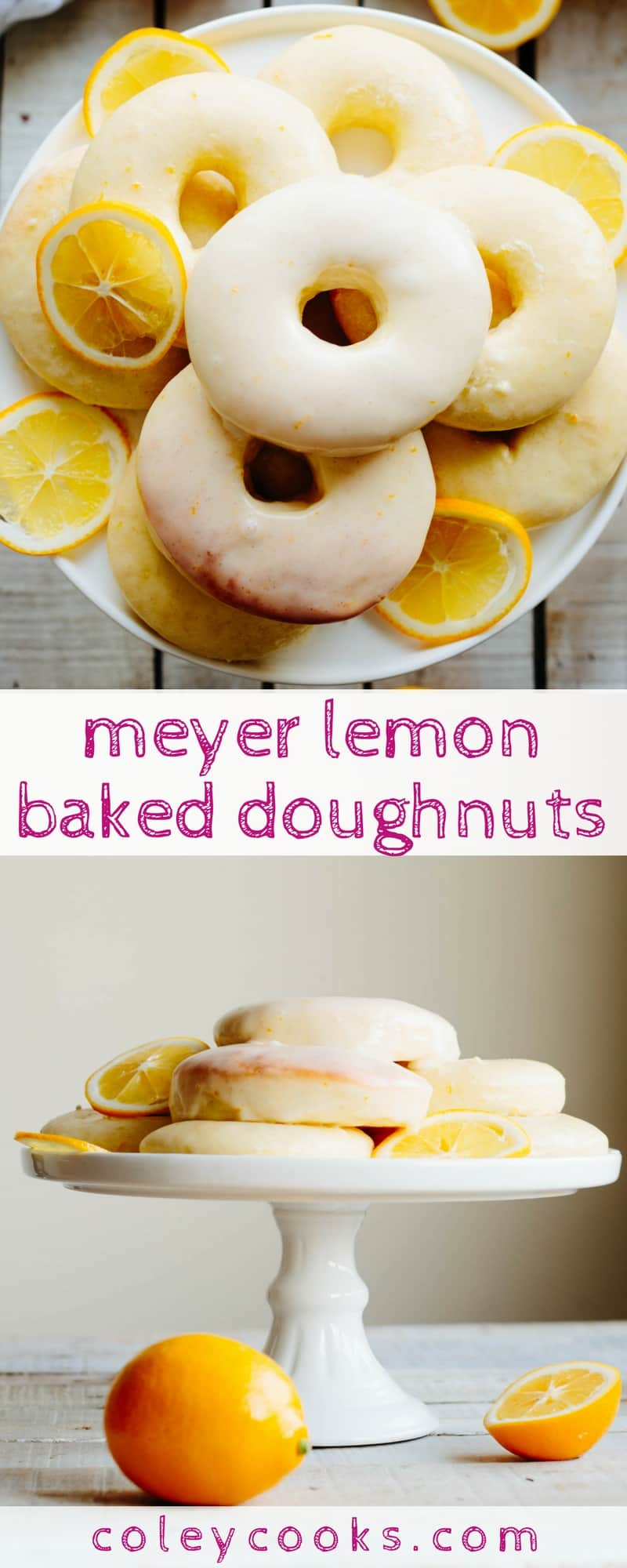 MEYER LEMON BAKED DOUGHNUTS | Easy recipe for yeasted baked doughnuts with Meyer lemon glaze! Perfect for a lazy weekend breakfast or brunch, bridal showers and baby showers! | ColeyCooks.com