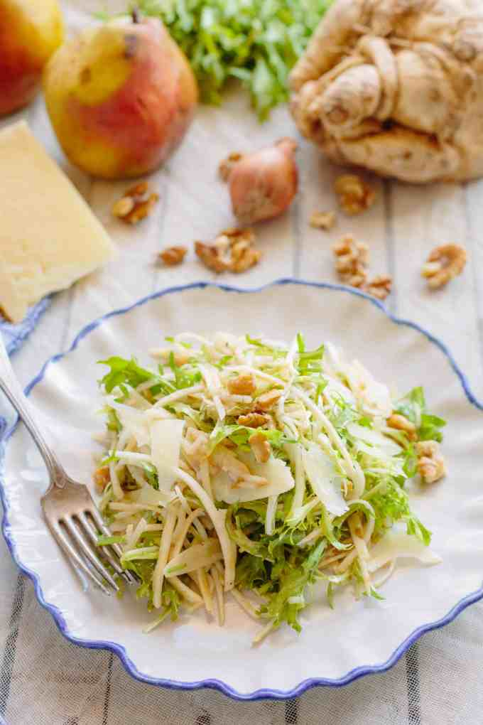 Celery Root + Pear Salad with Walnuts + Manchego (Video!)
