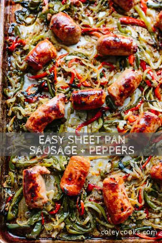 This recipe for classic Italian sausage and peppers is made easier and better by roasting the whole thing on a sheet pan! Easy prep, easy cleanup, awesome recipe! #easy #glutenfree #italian #recipe #sausage #peppers #sheetpan #dinner| ColeyCooks.com