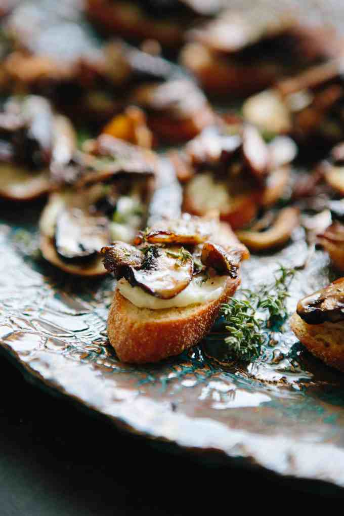 Roasted Mushroom + French Goat Cheese Crostini | ColeyCooks.com