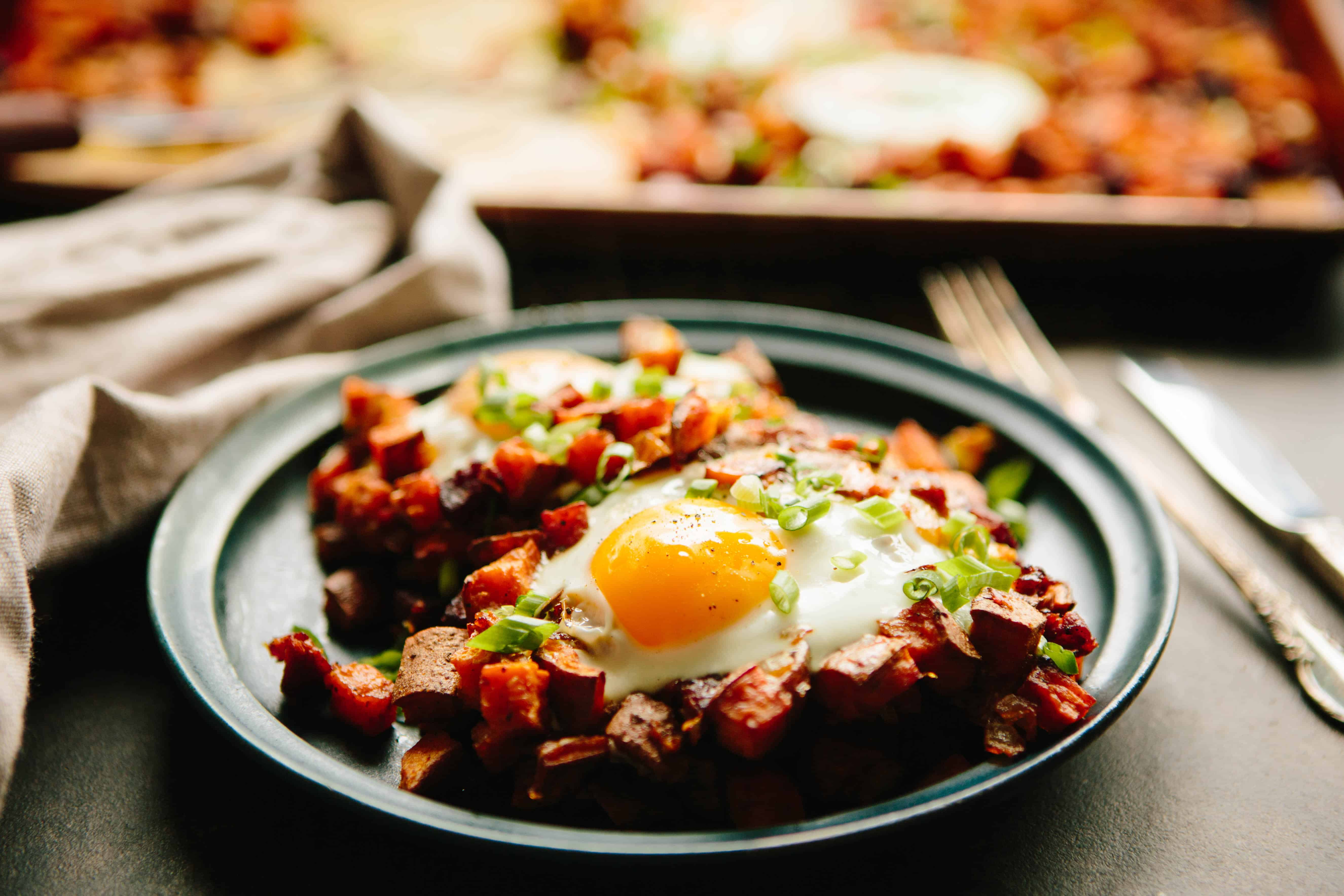 Baked Sweet Potato + Chorizo Hash with Eggs | ColeyCooks.com
