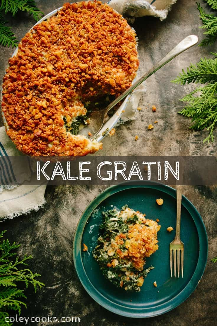 This Kale Gratin walks the line between healthy and indulgent. A great side for Thanksgiving, Christmas or a cozy winter night. #kale #gratin #cream #dessert #side #thanksgiving #easy #recipe | ColeyCooks.com