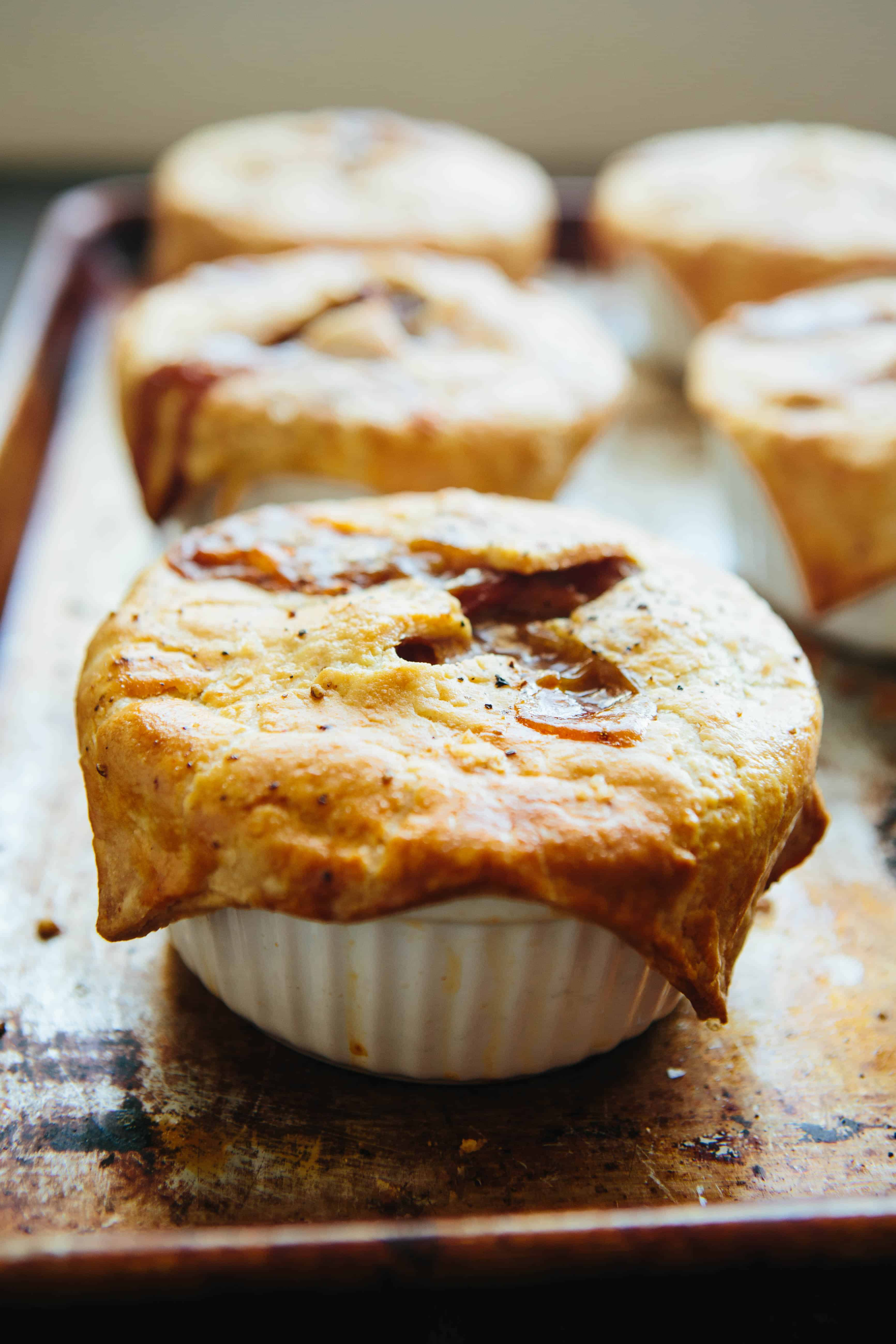 Turkey Pot Pies with Bacon, Caramelized Onions + Butternut Squash | ColeyCooks.com