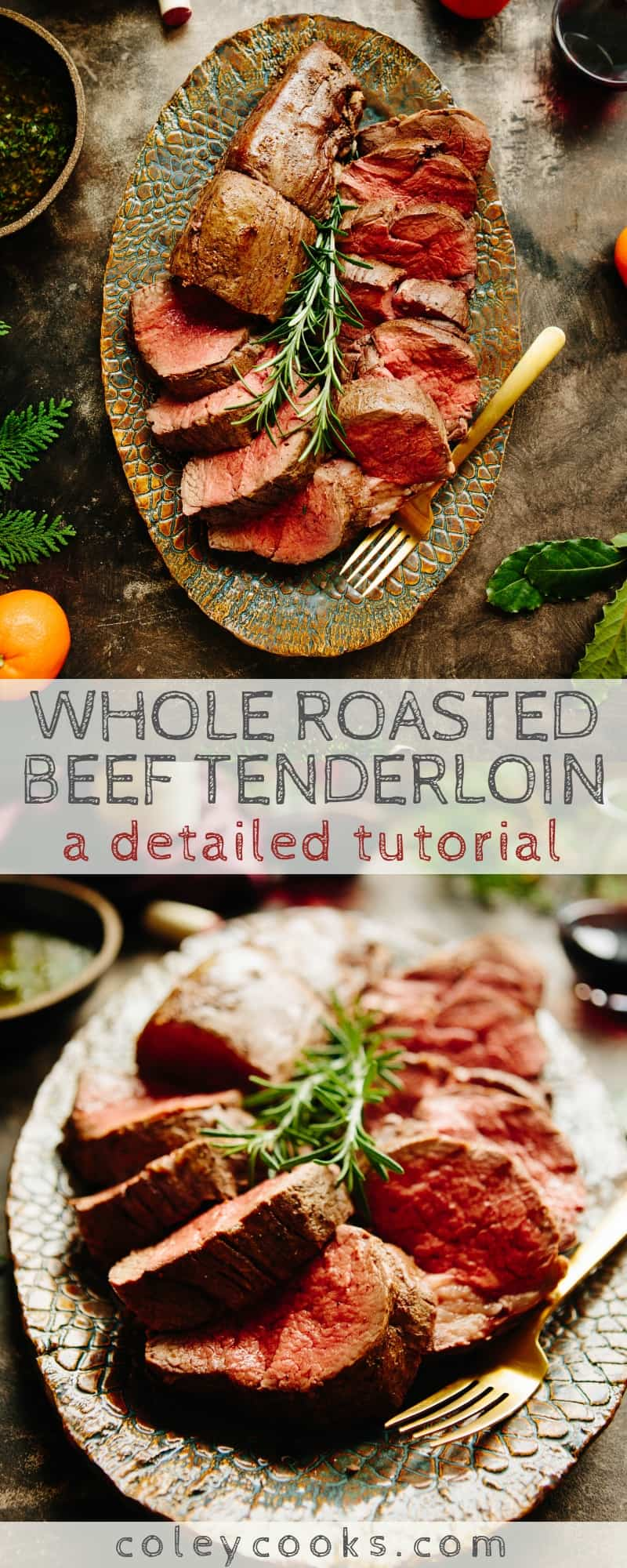 WHOLE ROASTED BEEF TENDERLOIN   Detailed tutorial on how to roast a whole beef tenderloin (filet mignon) with wine pairings and serving ideas! Perfect for holiday entertaining #meat #beef #filetmignon #tenderloin #easy #foolproof #recipe   ColeyCooks.com