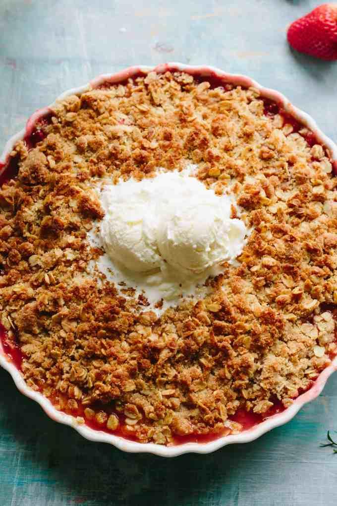 APRICOT STRAWBERRY RHUBARB CRISP | Easy spring / summer dessert recipe! Buttery oat crumble topping over jammy sweet tart fruit. #easy #fruit #crisp #dessert #recipe | ColeyCooks.com