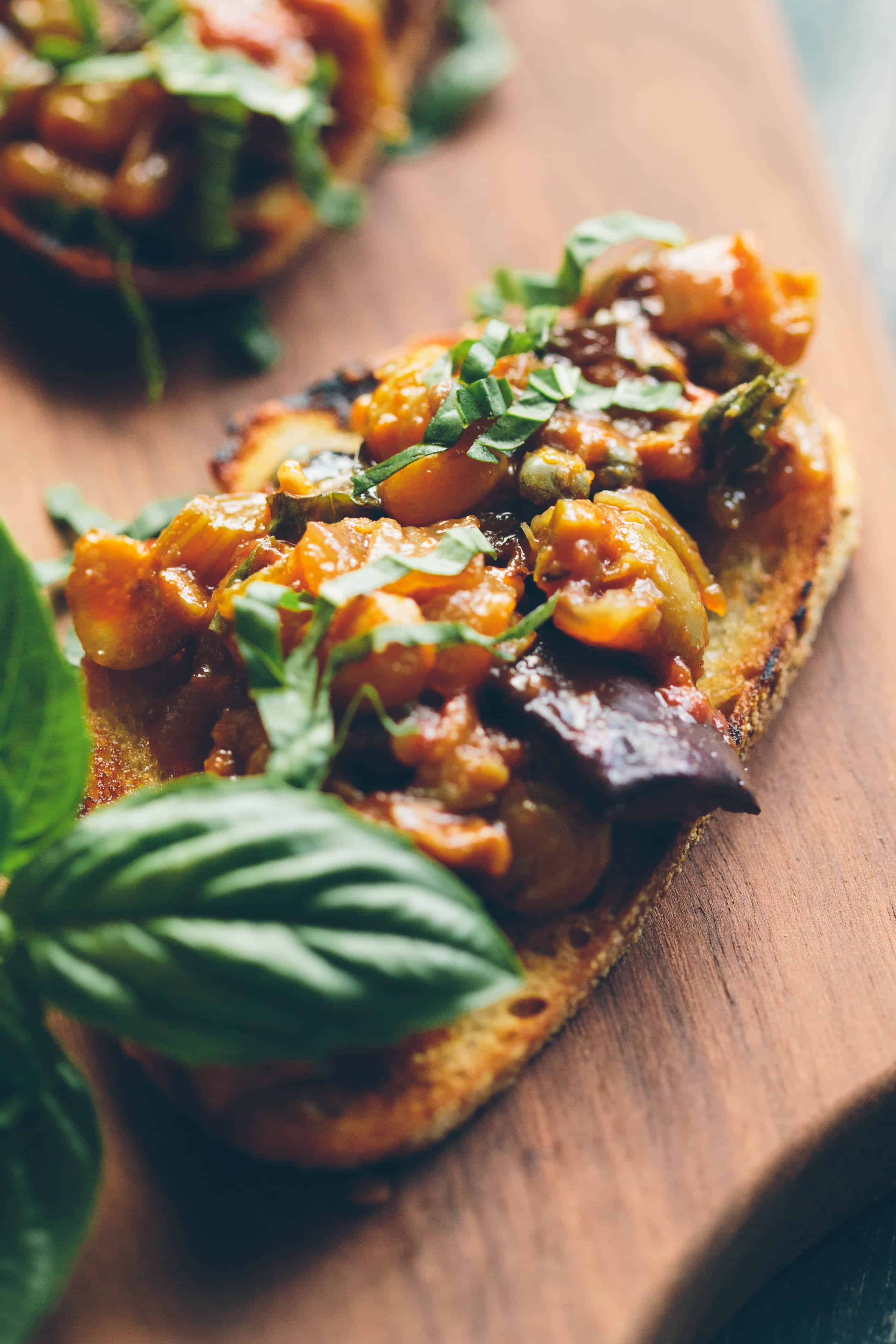 EGGPLANT CAPONATA | Traditional recipe for Sicilian eggplant relish. Sweet, sour, salty and so delicious! #Sicilian #eggplant #agrodolce #recipe #salad #relish | ColeyCooks.com
