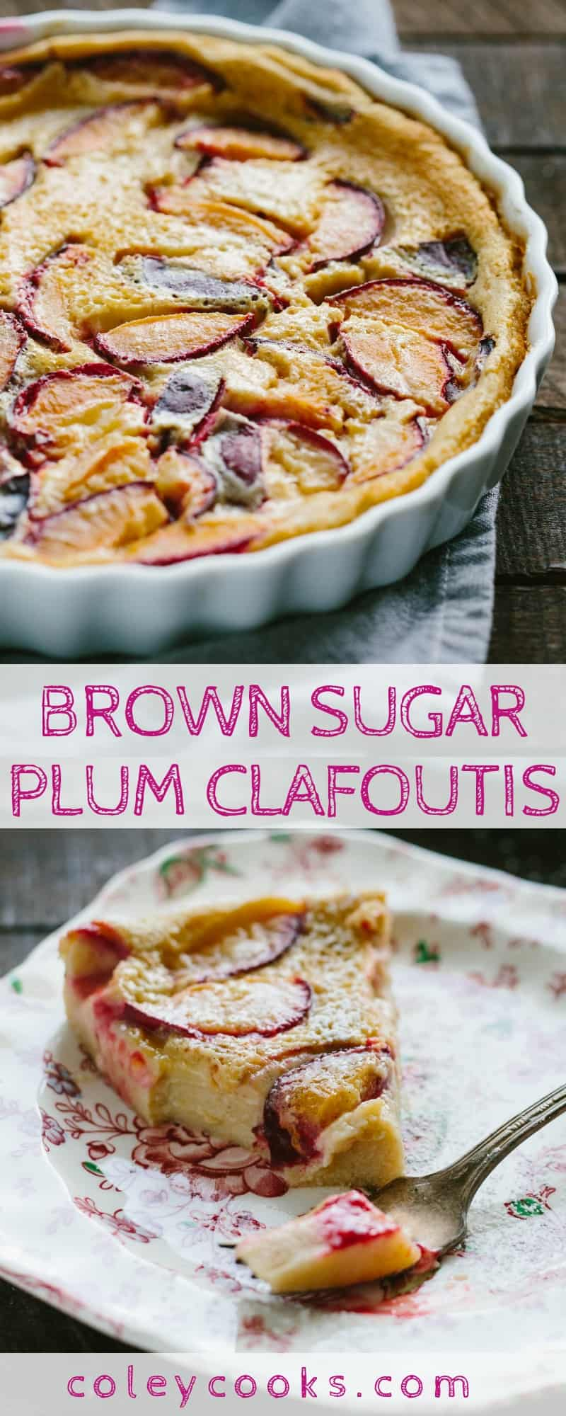 BROWN SUGAR PLUM CLAFOUTIS | This easy and elegant classic French dessert is silky, custardy, and full of juicy fresh plums. #french #dessert #easy #fruit #custard #elegant #egg #clafoutis #plums #recipe | ColeyCooks.com