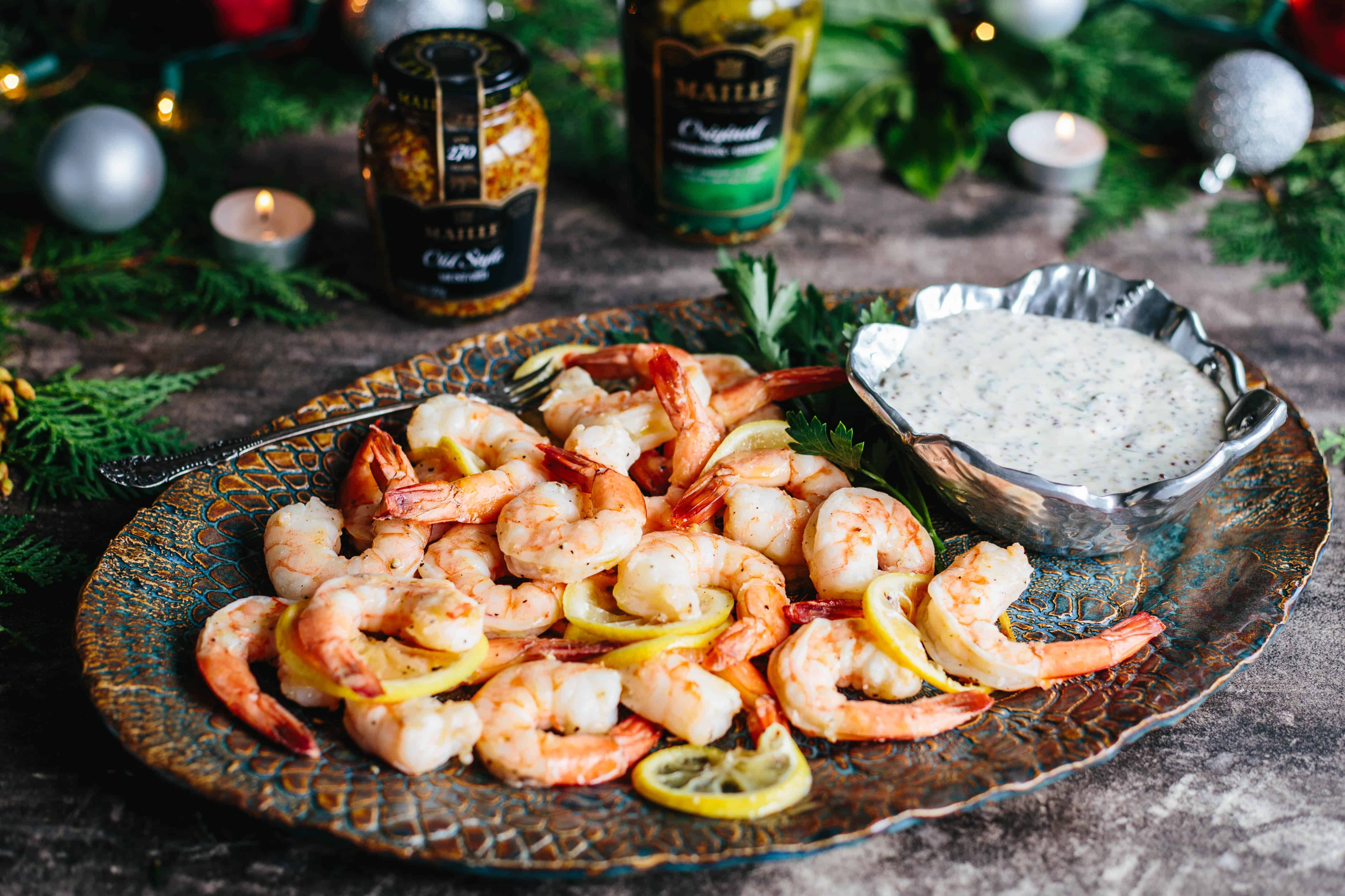 Roasted Shrimp Cocktail with Whole Grain Mustard Sauce | This super easy recipe is a unique twist on shrimp cocktail! Perfect recipe for holiday entertaining! #christmas #shrimp #shrimpcocktail #christmaseve #7fishes #recipe #easy | ColeyCooks.com