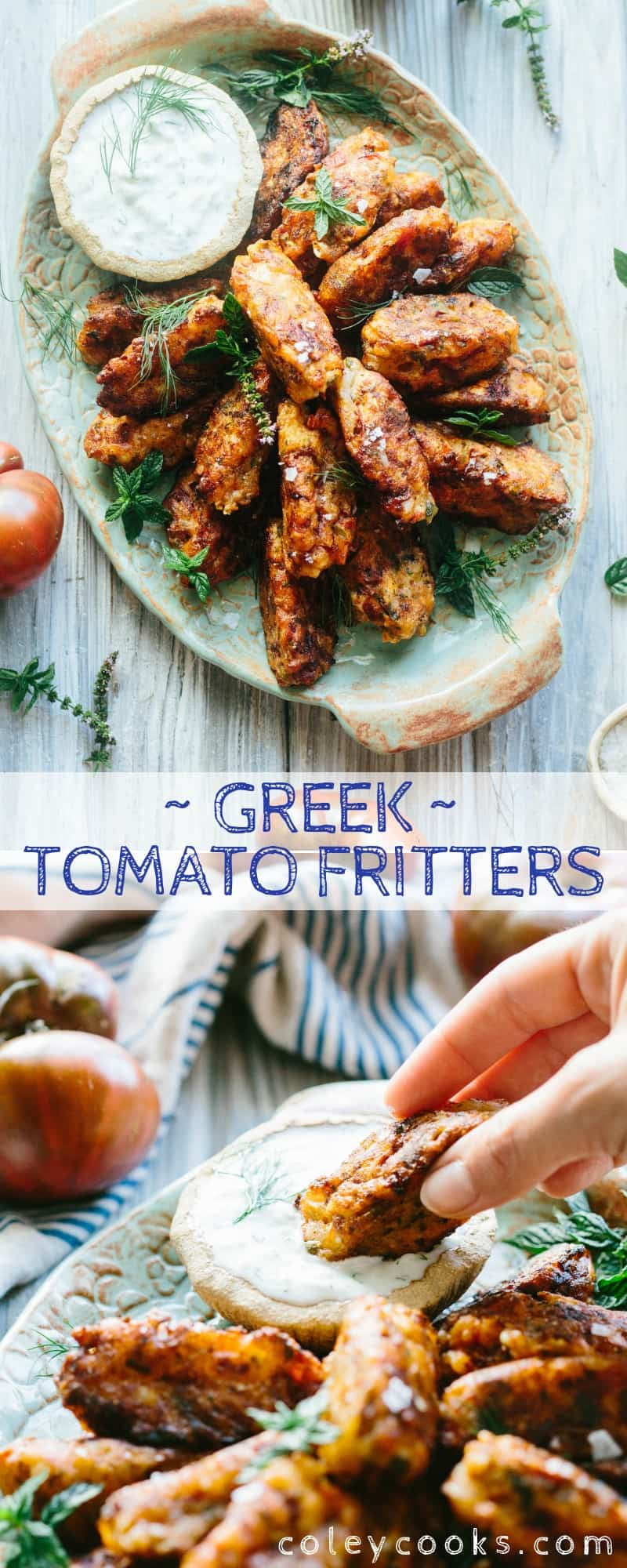 GREEK TOMATO FRITTERS. This easy mezze or appetizer from Santorini, Greece is a delicious and unique way to enjoy summer's best tomatoes! #easy #Greek #tomato #fritter #Santorini #recipe | ColeyCooks.com
