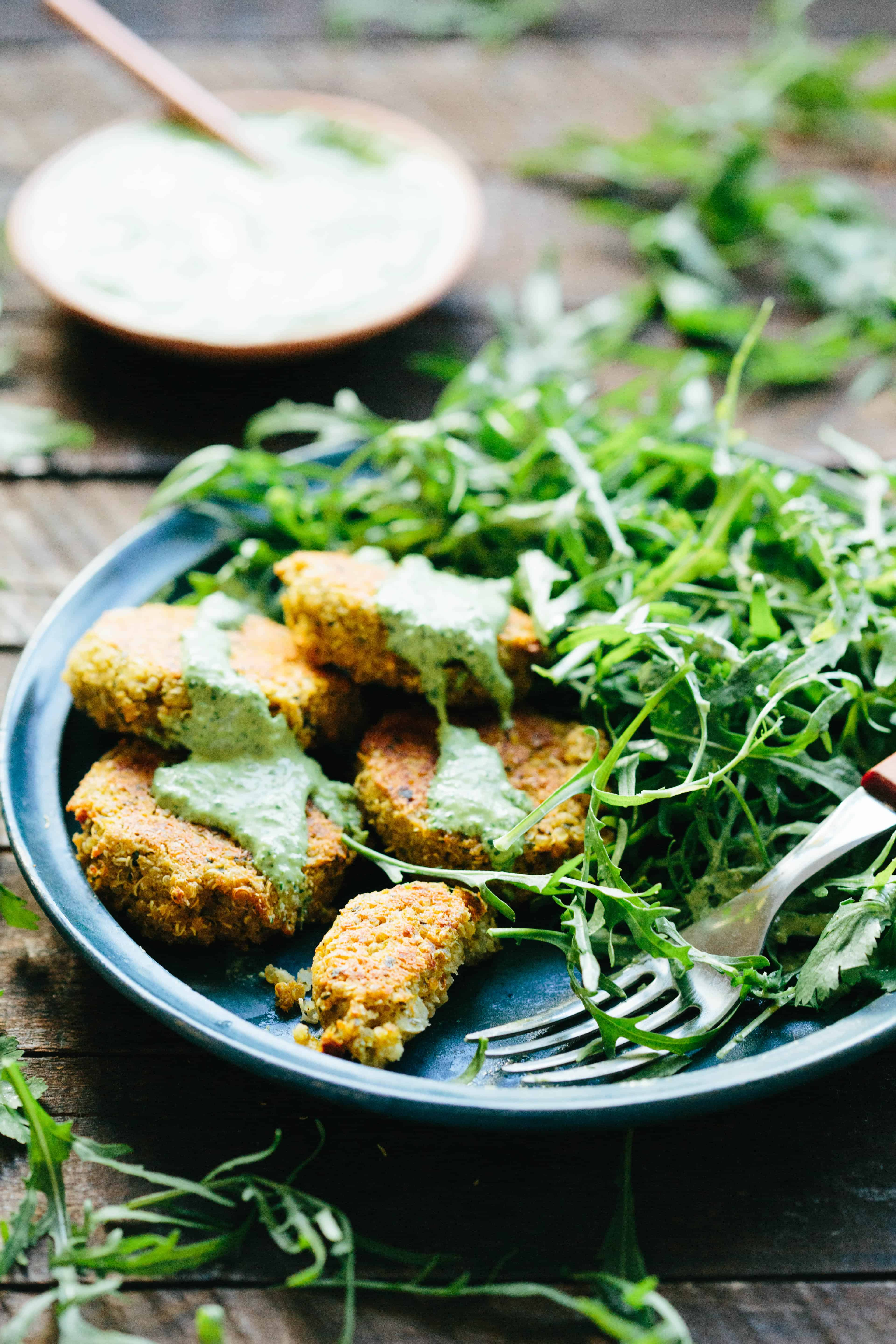 Quinoa Falafel with Green Tahini is an easy, healthy and delicious plant based dinner! Simple and satisfying! #easy #falafel #quinoa #vegan #recipe | ColeyCooks.com