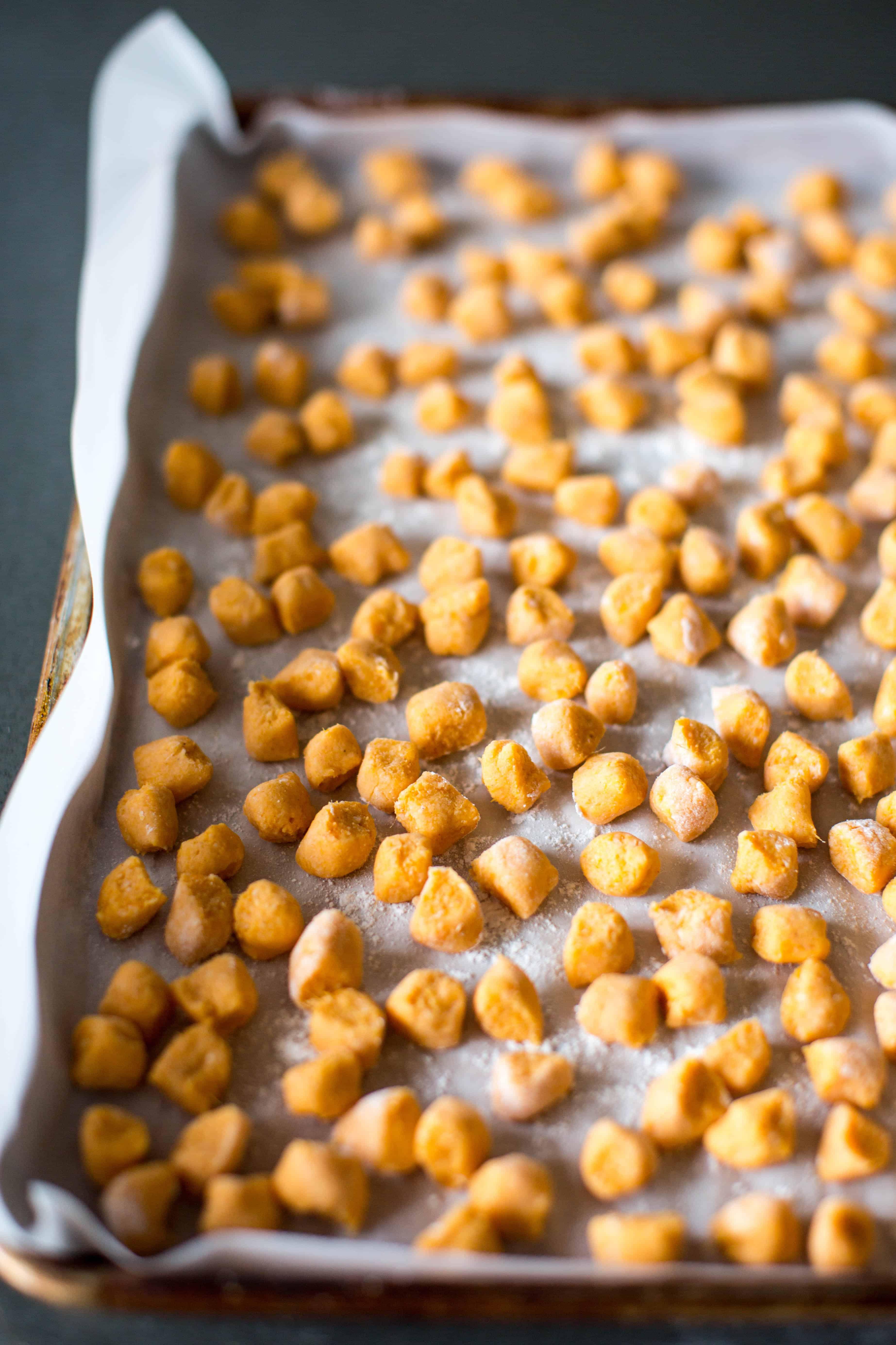 sweet potato gnocchi ready for the freezer