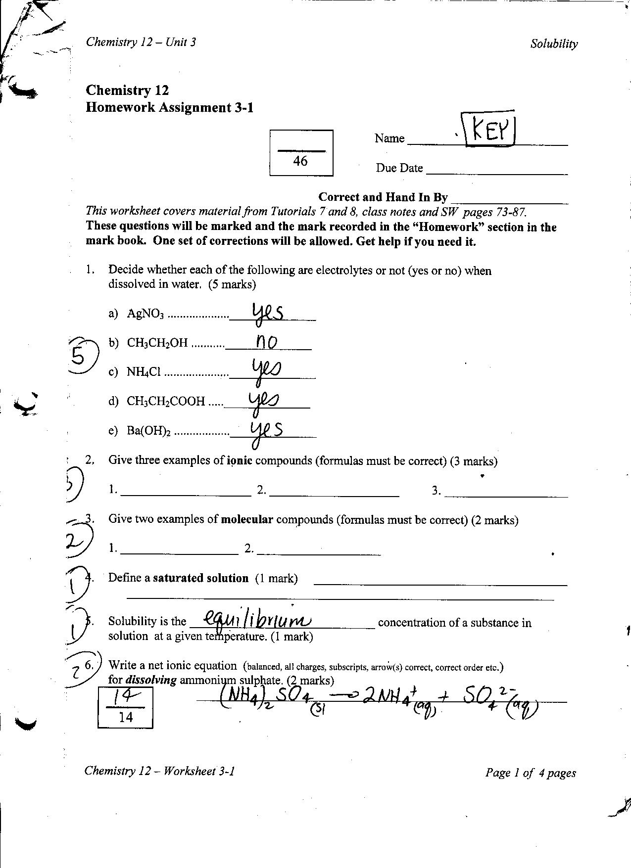 Assigning Oxidation Numbers Worksheet Chemistry 12