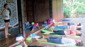 Me giving a hatha yoga class in Thailand.