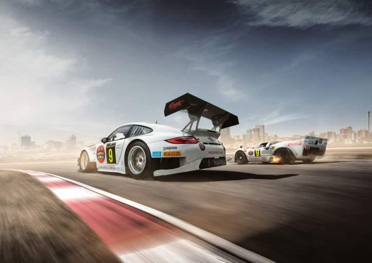 Team Perfect Circle Porsche 911 GT3 R and 917 rear