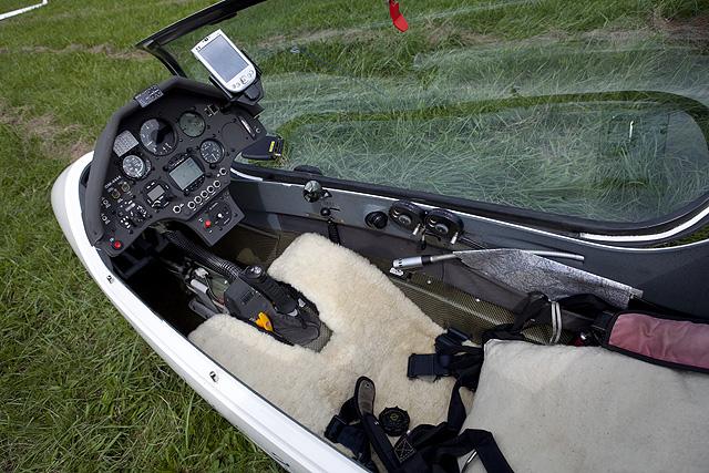 Glider cockpit.