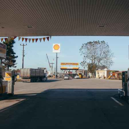 petrol filling station in suburb on sunny day