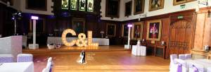Durham Castle Wedding Disco Setup
