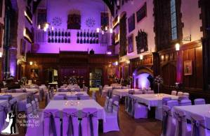 Durham Castle with Uplighting in Purple