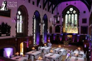 Durham Castle Wedding - set up for a great party with Uplighting in Purple. Recommended Wedding DJ