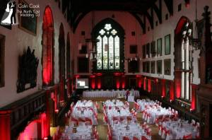 Durham Castle Wedding Lighting. LED Uplighting, when done properly, transforms the Great Hall into an atmospheric and amazing evening Reception Venue
