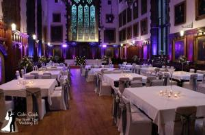 Durham Castle ready for Evening Wedding Reception and Disco with room Uplighting in Purple