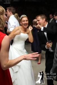 Dancing and fun at a Wedding Disco at Alnwick Garden
