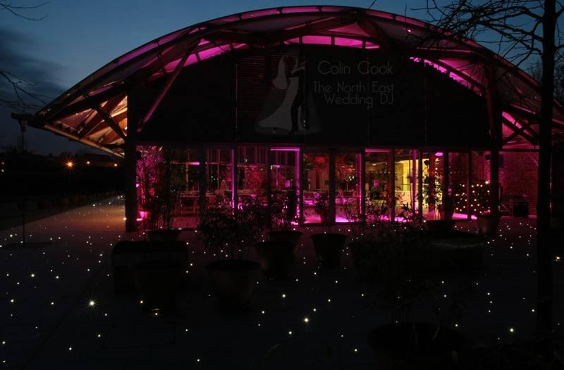 Alnwick Garden Pavilion Wedding Moodlighting and Uplighting in Pink