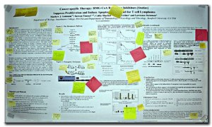 Getting feedback on a scientific poster by Post-Its.