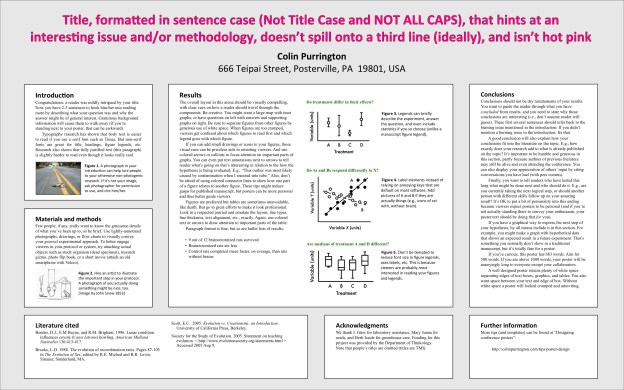 Templates for conference posters - Colin Purrington