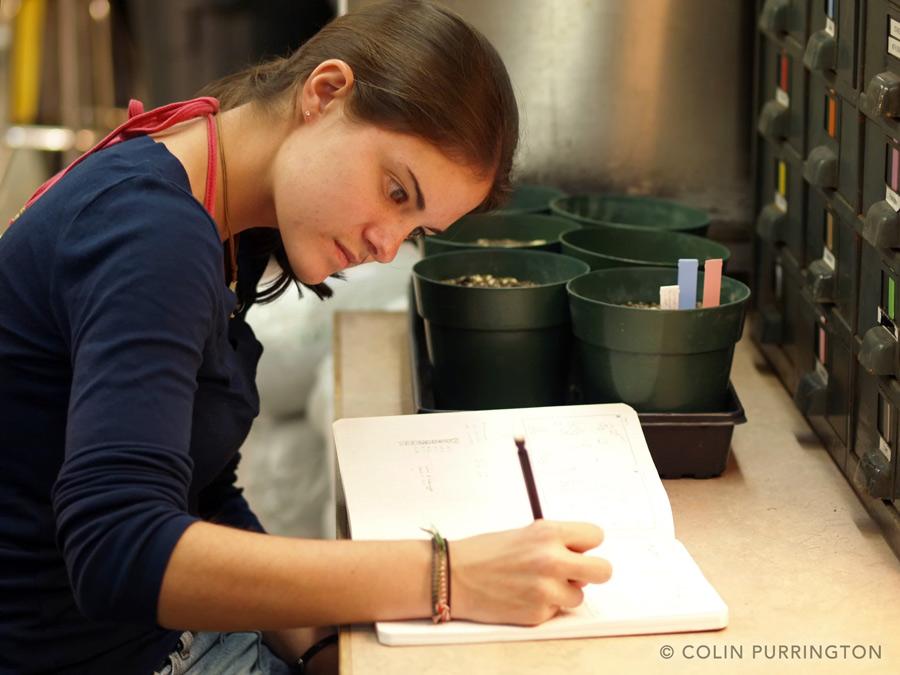 recording data into a laboratory notebook