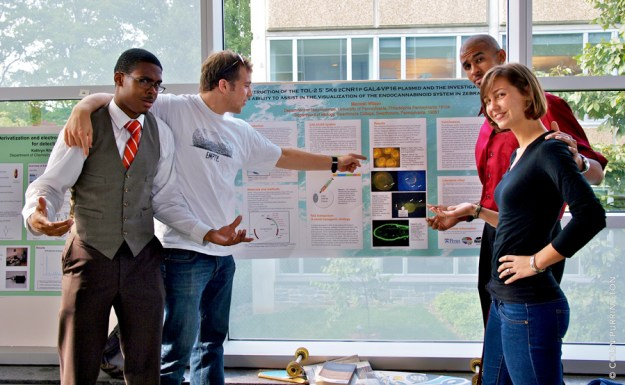 Presenting a poster at a conference