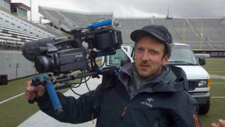 Rick Smith with one of the thermal imaging cameras rigged up into a frankencam with external recorder, monitor, etc.