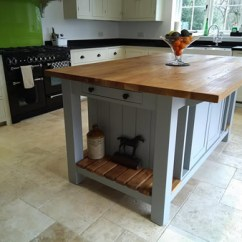 Kitchen Islands Uk Home Depot Carts Freestanding Painted Island Free Standing With Breakfast Bar Slatted End Shelves Double Storage Cupboard