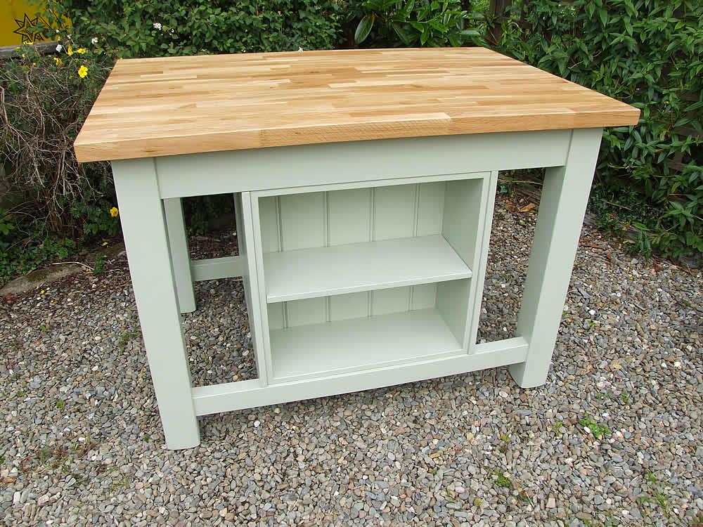 freestanding kitchen island moen chateau faucet repair with built in bookcase oak worktop