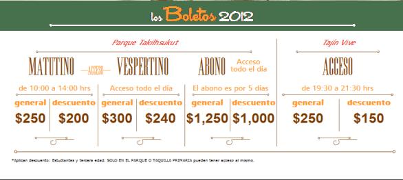 Costo de los boletos Cumbre Tajin 2012